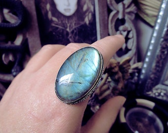 Labradorite Silver Ring, Oval Ring, Protection, Large Ring, Antique Design, Size 8.5