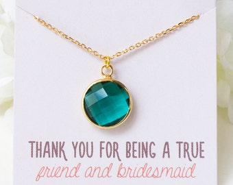 Personalized Bridesmaid Gift Emerald Bridesmaid Jewelry Wedding Necklace Bridal Necklace Gift from Bride Bridesmaid Necklace N260GR