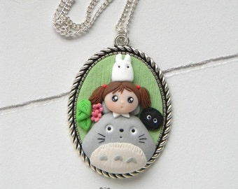 Totoro, Mei and Nadeau of the dark, Cameo Necklace, Necklace