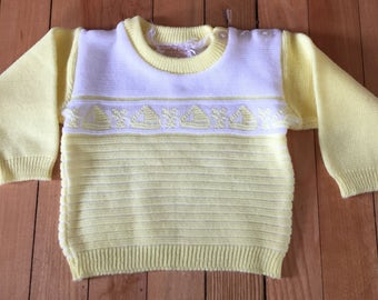 Vintage 1970s Baby Infant Boys Yellow Knit Sailboat Sweater! Size 0-6 months