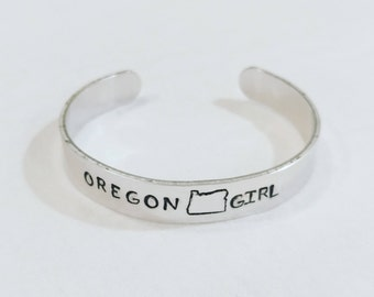 Oregon Girl Hand-stamped Cuff Bracelet