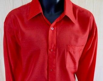 Men's Vintage Enrico Rossini Dress Shirt/ c. 1980s/ Scarlet Red / Silk Polyester