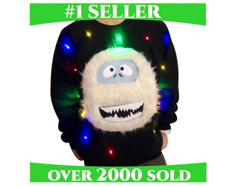 Ugly Christmas Sweater LIGHTS UP!!! - Sweatshirt - Abominable Snowman - Light Up Christmas Sweater - Christmas Jumper -**Fast Shipping*