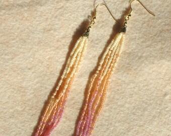 Shoulder dusters, long fringe earrings, seed bead earrings, beaded jewelry, hand made jewelry, pink earrings, boho, hippie