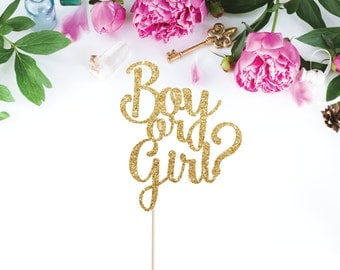 Boy or Girl Cake Topper - Gender Reveal Cake Topper (customize to any colour for your party/baby shower)
