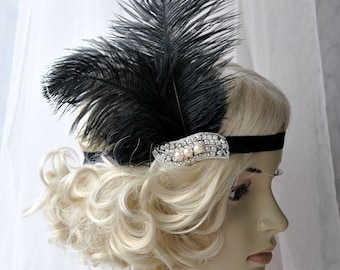 The Great Gatsby 20's  Pearls flapper Headpiece, Vintage Inspired, Bridal 1920s Headpiece Rhinestone headband bridesmaid flapper headpiece