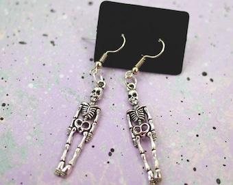 Skeleton Earrings, Skull Earrings, Halloween Jewelry, Dangle Drop Earrings, Halloween Earrings, Horror Jewelry, Pastel Goth Skeleton Jewelry