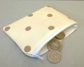 Coin purse in cream with tan spots pattern oilcloth change purse ladies zipped pouch card wallet coin pouch