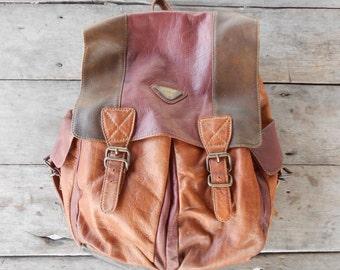 Vintage HAROLD Leather Backpack , Daypack / Soft Leather / Medium / Unisex