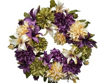 Dahlia & Lily Wreath | Front Door Wreaths | Wreath | Housewarming Gift | Outdoor Wreath | New Home Gift Ideas