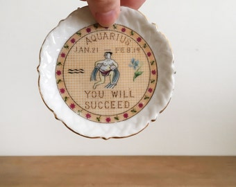Vintage Zodiac Ring Dish - Aquarius Jewelry Dish - Horoscope Catch All
