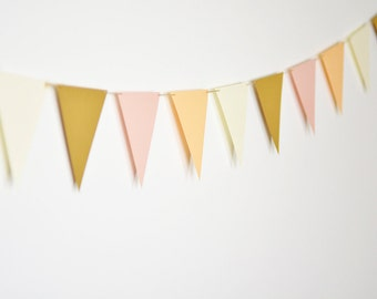 Peach Blush Triangle Flag Banner, Pink and Peach Pennant Banner, Blush Wedding Bunting, Blush Nursery Decor, Baby Girl Shower, Bridal Shower