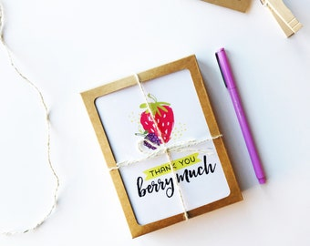 Thank You Cards // Boxed Card Set // Thank You Berry Much // Thank You Card Set // Thank You Notes // Cute Thank You // The Busy Bee