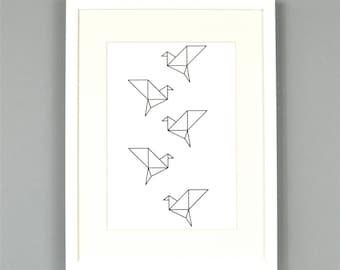 Origami Birds Monochrome Art Print