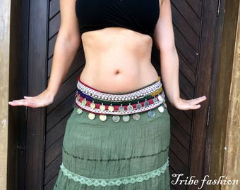 Belly dance costume, tribal belly dance, gypsy belt, tribal fusion belt