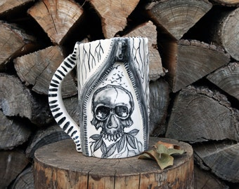 skull ceramic beer stein with zipper, black and white, gothic. Made to order