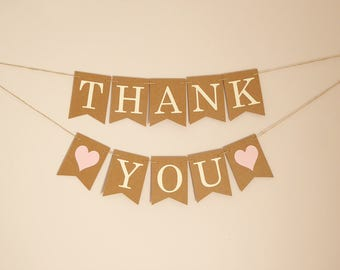 Mini Thank You Wedding Bunting Banner Sign, pink