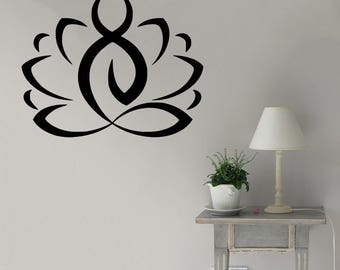 Wall Decal, Lotus, Yoga Zen Meditation, Bedroom Wall Decal, Yoga Studio Wall Decal, Lotus Flower, Yoga Wall Decal, Namaste Decal, Wall Art