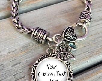 CHRISTMAS GIFT for HER- custom saying Bracelet - custom text Bracelet - your cutom message - personalized bracelet - gift for Mom, grandma