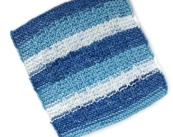 Dish Cloth, Blue Stripe Wash Cloth, Gift, Eco Friendly, Hostess Gift, Cotton Kitchen Cloth, Hand Knit Dish Cloth, Gift for Him or Her