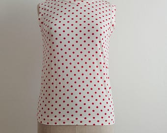 Comme des Garçons white red polka dots tank top