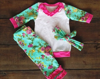 Girls Going Home Outfit - Newborn Floral - Home Outfit - 3 Piece