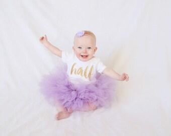 Baby Girl Half Birthday Outfit, 6 Month Birthday Tutu Outfit, Girls Lavender Half Birthday, Half Birthday Bodysuit, Optional Tutu & Headband