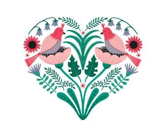 8 x 8in Lovebirds Art Print | Floral Print | Gift Art Print | Cute Birds | Illustrated | Painted digital print | Home Decor