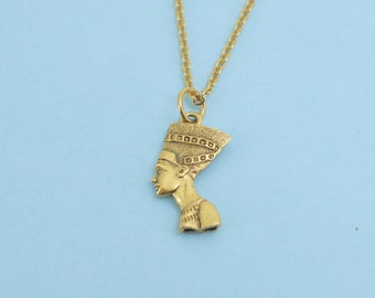 Nefertiti  Necklace in 24K gold plated pewter on a gold plated stainless steel chain.  Nefertiti Charm Necklace.  Nefertiti Jewelry.