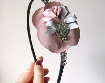 Roselle Headband - Pastel headband - Boho headband - Flower headband - Woodland headband - Fascinator - Adult headband - Pink Flowers