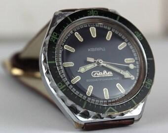 Legendary AMPHIBIA Soviet watch - vintage Vostok military soviet watch Water resistant - SERVICED- leather band