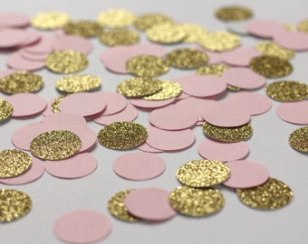 Pink and Gold Glitter Circle Confetti - Pink Dot Confetti - Girl Baby Shower Decorations