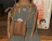 Primitive Easter Wild Willy Bunny Rabbit and doll with egg in burlap bag by Crows Roost Prims