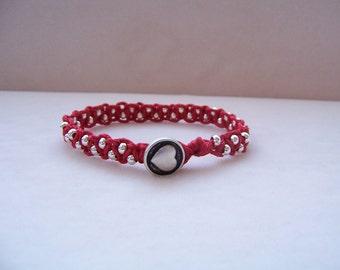 Red Heart Beaded Macrame Bracelet, Hemp Jewelry, Macrame Jewelry, Macrame Bracelet, Heart Jewelry, Heart Bracelet, Valentine's Day Jewelry