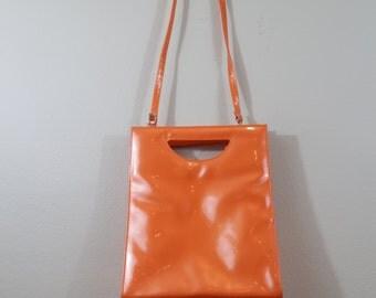 1960's Mod Shiny Orange Geometric Rectangular Purse / Handbag / Crossbody