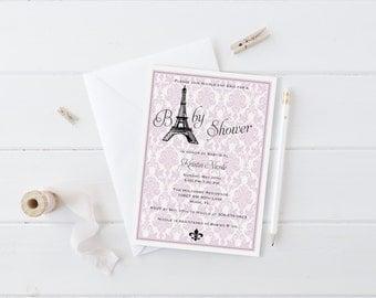 PRINTABLE INVITATION. Pink Paris Themed Baby Shower Invitation. Paris Baby Shower. Parisian Baby Shower. Paris Invitation. Pink Baby Shower.