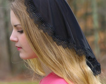 Evintage Veils~ Princess Style Traditional Catholic Black  Lace  Mantilla Chapel Veil