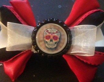 Sugar Skulls (Red, White and Black), Bottle Cap Hair Bow