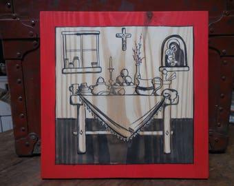 Domestic Altar, original painting, sumi-e on pine board, gift