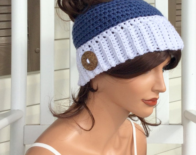 Messy Bun Winter Hat, Crochet Ponytail Beanie, Blue and White Winter Bun Hat for Women or Teens, Ponytail Hat for Runners