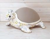 Bean bag Turtle pillow | Nursery baby furniture |Mocha green dots |beanbag chair | kids floor pillow cushion | newborn nest |babyshower gift