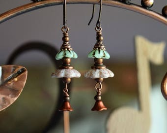 Antique Copper Flower Earrings