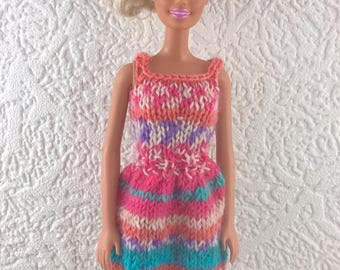 Multicoloured sun dress for Barbie. Striped summer dress for 12inch fashion doll. Easy to get on and off. Hand knit doll clothes.