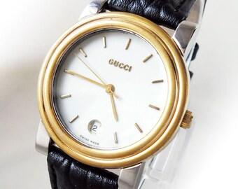 MEN's Vintage GUCCI 4300M Classic Date Leather Dress Watch