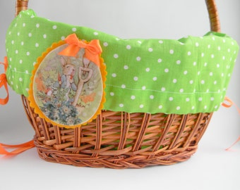 Poka dot green Easter Basket Liner Personalized easter basket liner with felt Peter rabbit oranament  Hand Embroidered Name Personalized