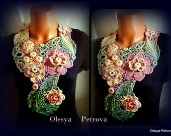 Lace Necklace Pink Green Crochet Floral Collar Statement Prom Bib necklace Renaissance Jewelry Designer choker Peach Bridal Collar Necklace