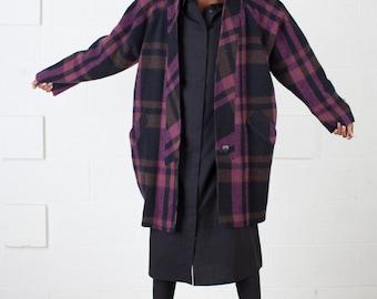 SALE! Vintage Plaid Cocoon Coat / Avant Garde / XS S