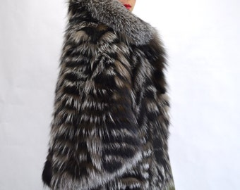 Real fur cape, new silver fox fur stole, genuine quality fox fur pelt,fur coat,fox fur cape, gray fox fur stole, fox fur shawl,bridal fur