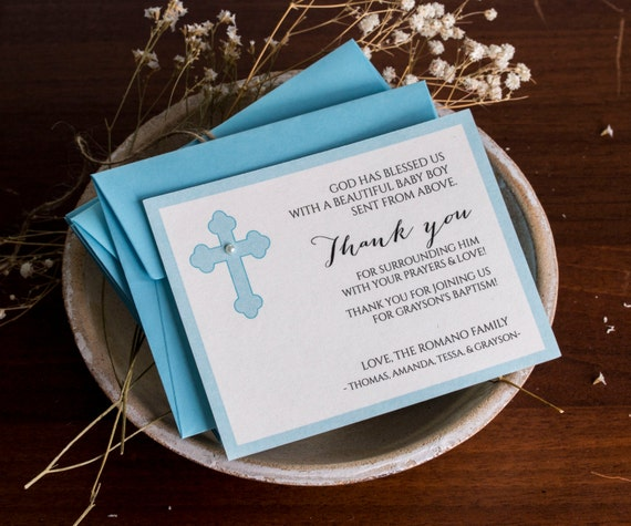 Baptism Thank You Cards Personalized Note Cards Baby Boy Christening Thank You Cards