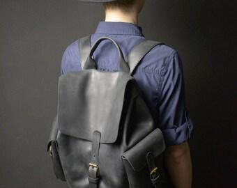 Leather backpack Black women's backpack Black leather backpack Women's rucksack Women leather travel backpack